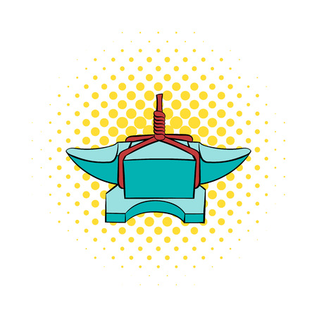 forge: Anvil with rope icon in comics style isolated on white background