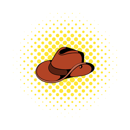 queensland: Cowboy hat icon in comics style on a white background