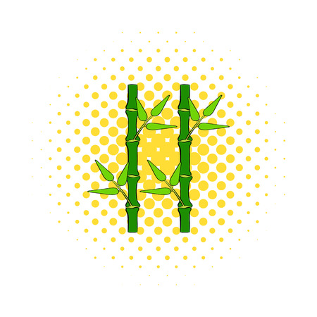 lucky bamboo: Green bamboo stem icon in comics style on a white background