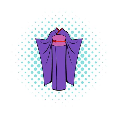japanese kimono: Japanese kimono icon in comics style on a white background Illustration