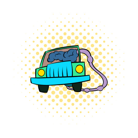 fumes: Traffic fumes suicide icon in comics style isolated on white background Illustration