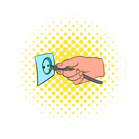 descarga electrica: El hombre consigue un icono descarga el�ctrica en el estilo de los c�mics aislado en el fondo blanco