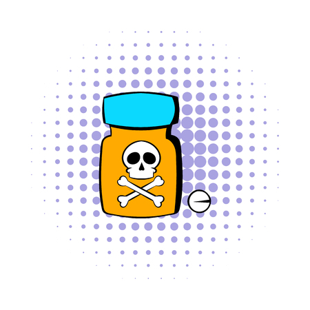 sleeping tablets: Bottle with poison icon in comics style isolated on white background Illustration