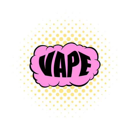 vaporized: Smoke vape icon in comics style isolated on white background