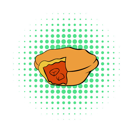 savoury: Meat pie icon in comics style on a white background