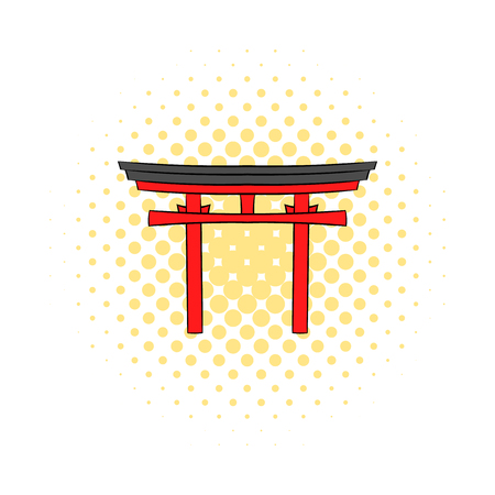miyajima: Japan gate icon in comics style on a white background Illustration