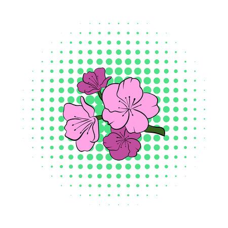 japanese garden: Sakura icon in comics style on a white background