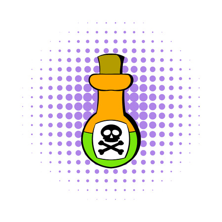 bane: Poison bottle icon in comics style isolated on white background