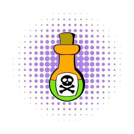 poison bottle: Veneno icono de la botella en el estilo de los c�mics aislado en el fondo blanco