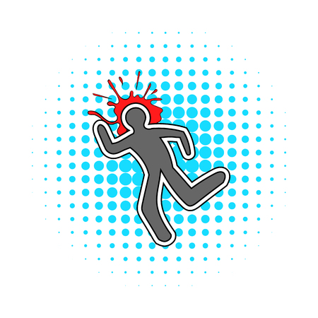 Chalk line and blood splat icon in comics style isolated on white background