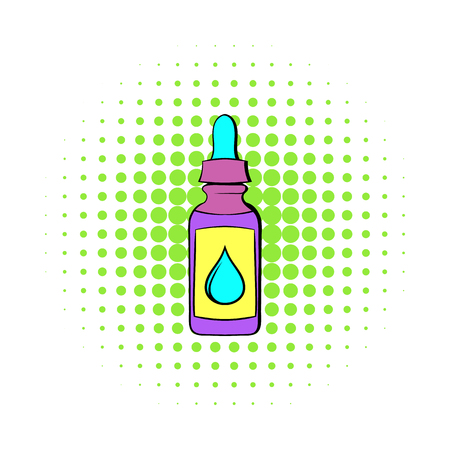 vaporized: vape juice bottle icon in comics style isolated on white background