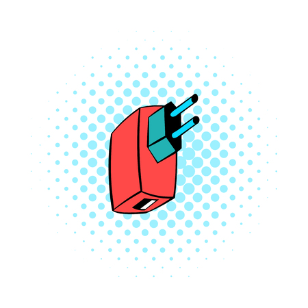 electrify: Electric power adapter icon in comics style isolated on white background Illustration