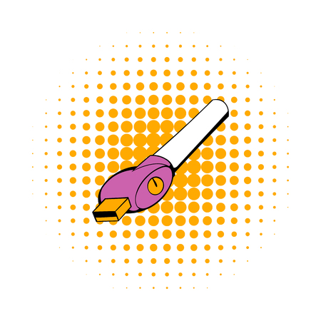 vaporized: Electronic cigarette charger icon in comics style isolated on white background