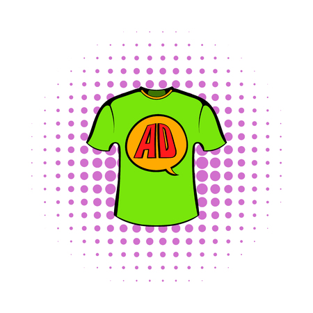 speech buble: Green shirt with AD letters icon in comics style on a white background