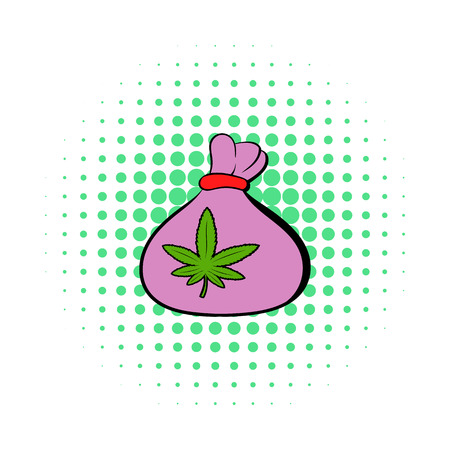 intoxication: Small bag with buds of marijuana icon in comics style on a white background