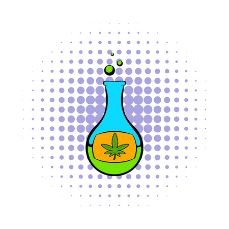 reagent: Chemical test tube with marijuana leaf icon in comics style on a white background