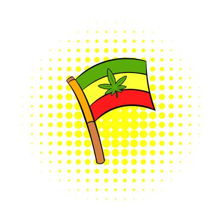 rastafarian: Cannabis leaf on rastafarian flag icon in comics style on a white background