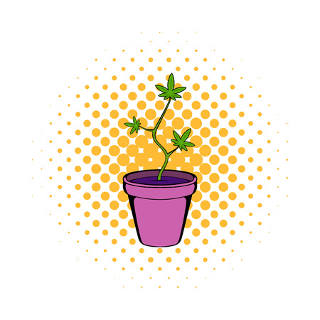 thc: Cannabis plant in a pot icon in comics style on a white background Illustration