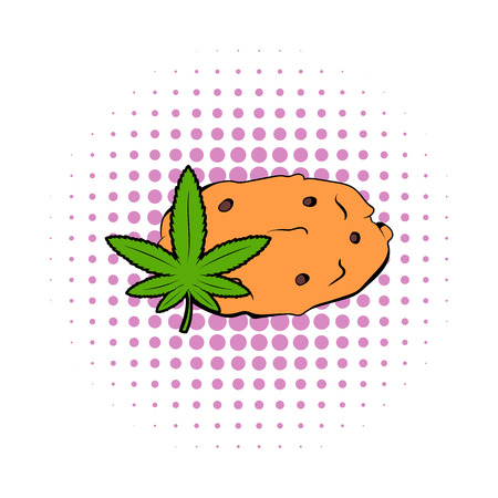 sativa: Cookies with marijuana leaf icon in comics style on a white background Illustration