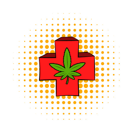 spiritual growth: Marijuana leaf on a red cross icon in comics style on a white background Illustration