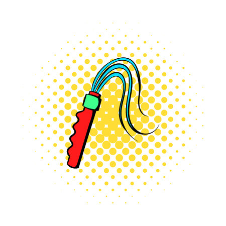 Leather whip icon in comics style on a white background