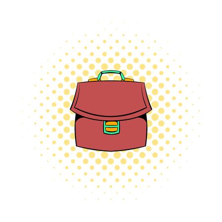 business briefcase: Brown business briefcase icon in comics style on a white background