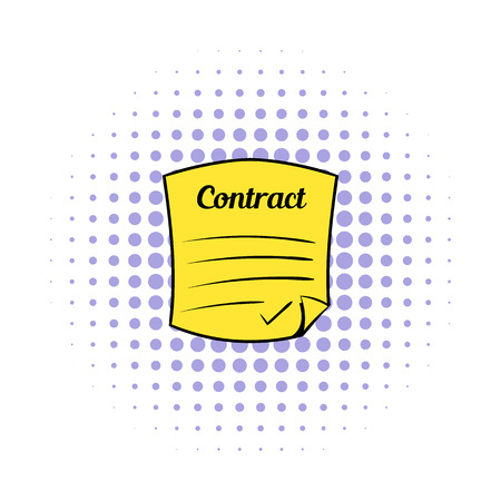 indenture: Business contract icon in comics style on a white background