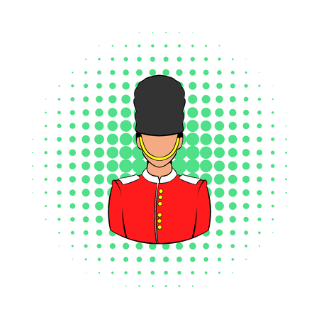 bearskin hat: A Royal Guard icon in comics style on a white background