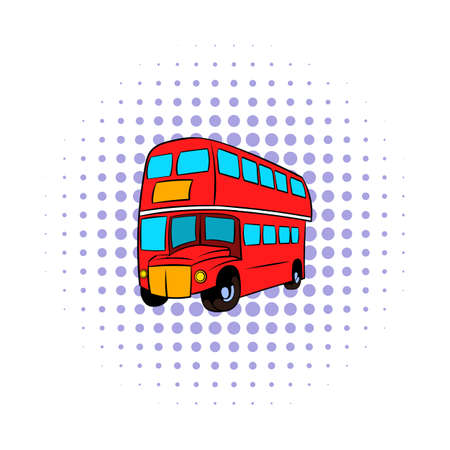 decker: London double decker red bus icon in comics style on a white background