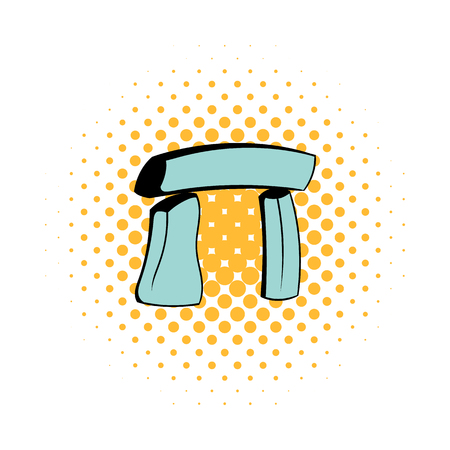 Stonehenge icon in comics style on a white background Illustration