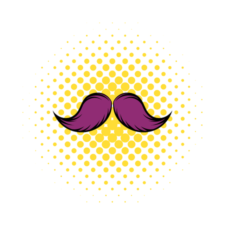style goatee: Mustache icon in comics style on a white background Illustration