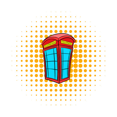 call history: British red phone booth icon in comics style on a white background