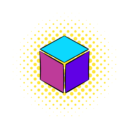 deploy: Cube icon in comics style on a white background
