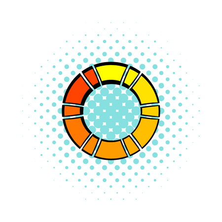 Loading process circular icon in comics style on a white background