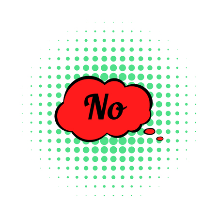 disapprove: No in red cloud icon, comics style on a white background