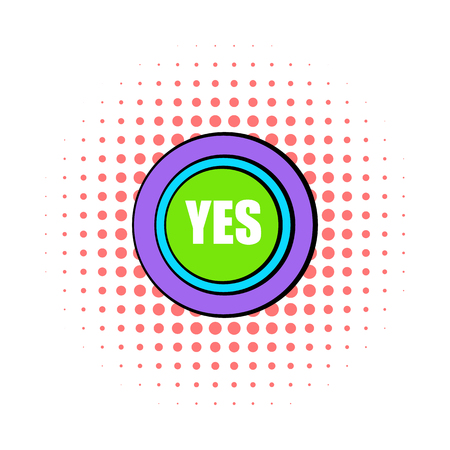 answer approve of: Yes green button icon in comics style on a white background