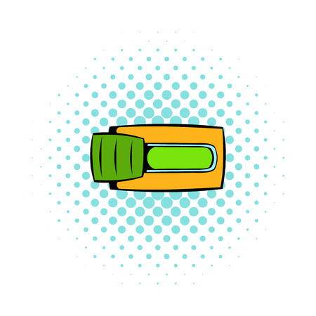toggle switch: Toggle switch in Yes position icon in comics style on a white background