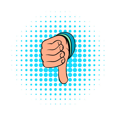 expressing negativity: Thumb down gesture icon in comics style on a white background