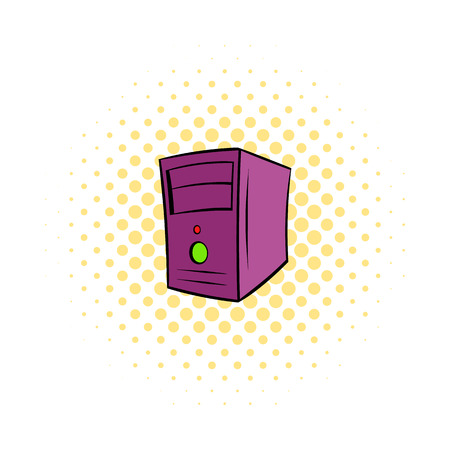 power supply unit: Computer system unit icon in comics style on a white background