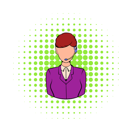 support phone operator: Support phone operator in headset icon in comics style on a white background