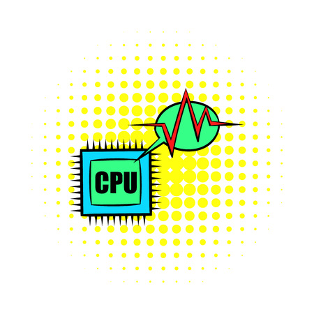 microelectronics: CPU icon in comics style on a white background