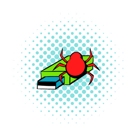 Flash drive infected by virus icon in comics style on a white background Illustration