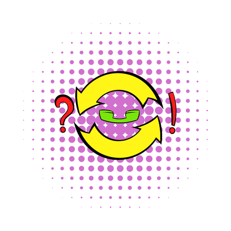 exclamatory: Yellow circular arrows with question and exclamation mark icon in comics style on a white background Illustration