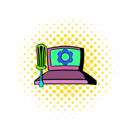 computer repair: Technical support, computer repair service icon in comics style on a white background