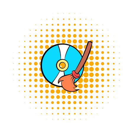 to clean up: Clean up hard drive icon in comics style on a white background