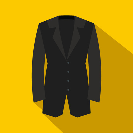 yellow jacket: Black classic jacket icon in flat style on a yellow background