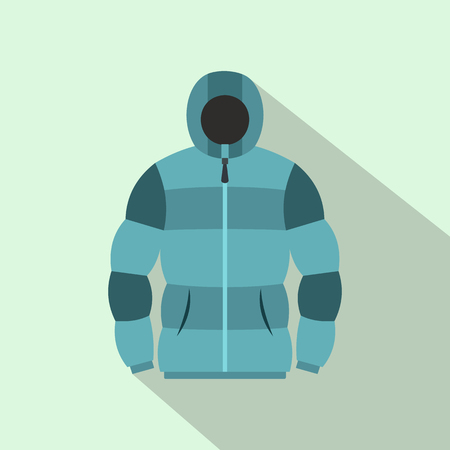 zipper hooded sweatshirt: Blue hoodie icon in flat style on a light blue background