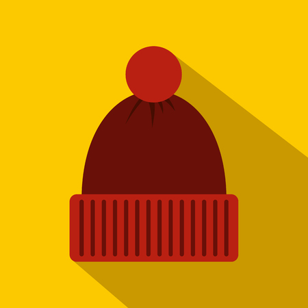 knitten: Red knitted hat icon in flat style on a yellow background
