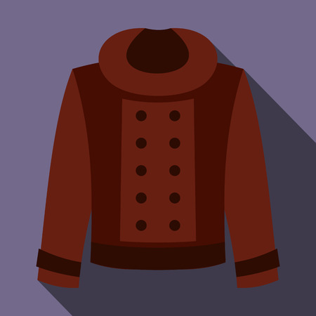 double breasted: Female jacket icon in flat style on a violet background