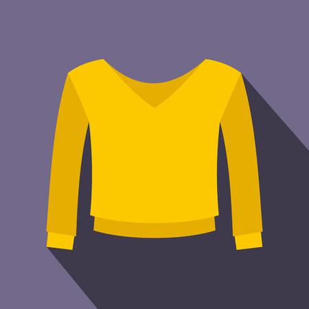 v neck: Yellow pullover icon in flat style on a violet background